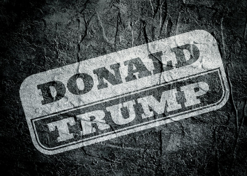 Stamp with Donald Trump text over grunge background. United States of America, Circa-2016: Donald Trump text over concrete textured background. Monochrome effect vector illustration