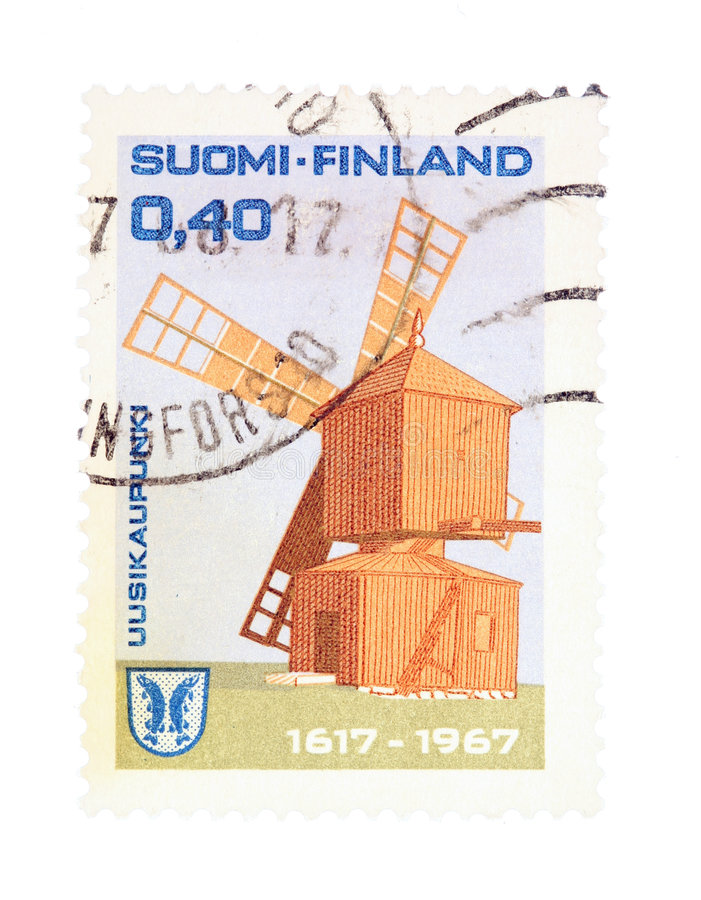 Stamp from Finland. Collectible old stamp from Finland. Stamp with Uusikaupunki windmill stock photo