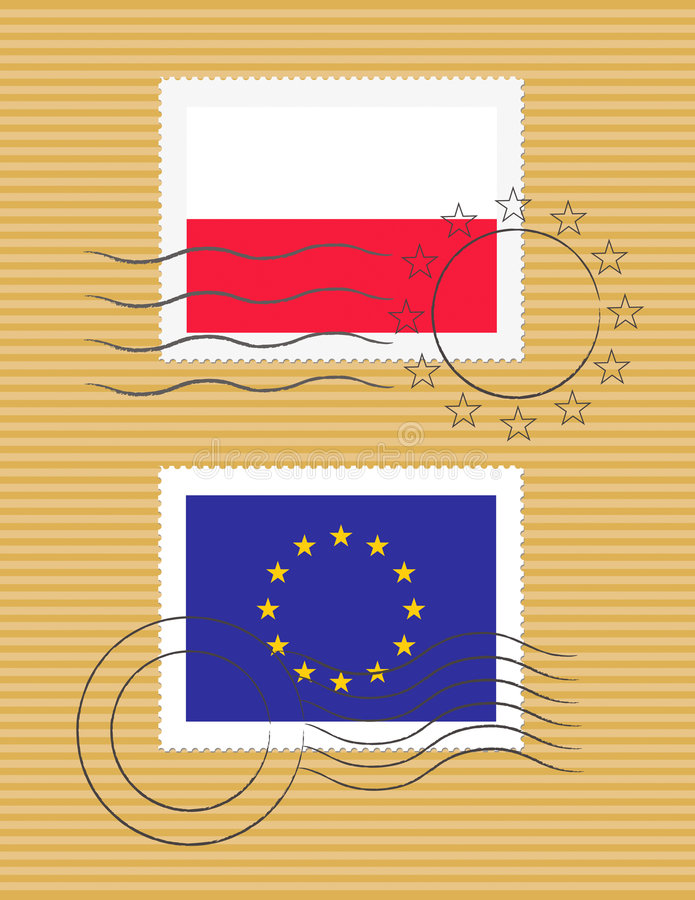 Stamp with flag of Poland. Polish and European Union flags on a stamp with postmarks royalty free illustration