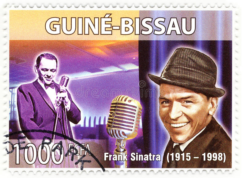 Stamp with Frank Sinatra stock images