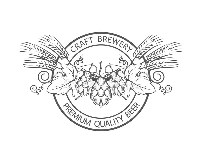 Stamp with hops and barley ear. Black stamp with hops and barley ear for brewing vector illustration