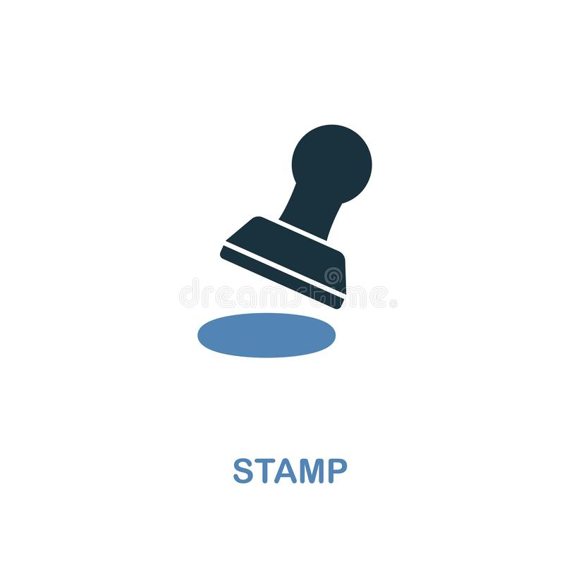 Stamp icon in two colors design. Pixel perfect symbols from personal finance icon collection. UI and UX. Illustration of stamp ico. Stamp creative icon in two royalty free illustration