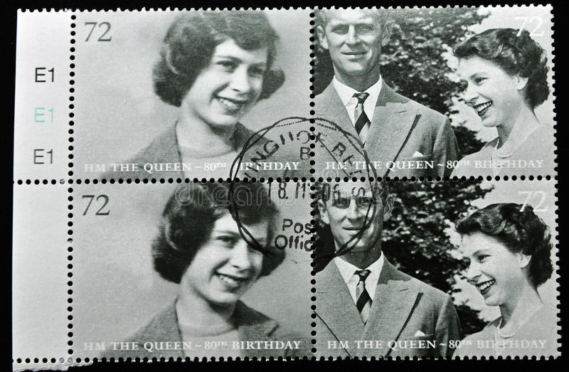 Stamp with image of queen elizabeth stock photos