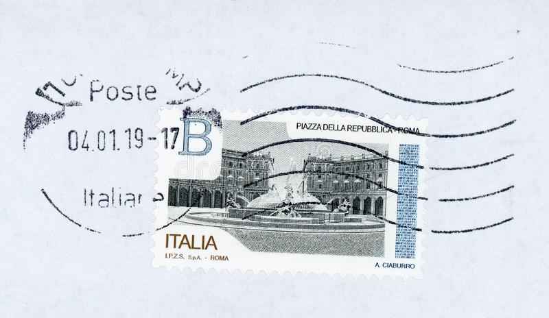 Stamp of Italy. ROME, ITALY - CIRCA JANUARY 2019: a stamp printed by Italy showing Piazza della Repubblica meaning Republic square in Rome stock photos