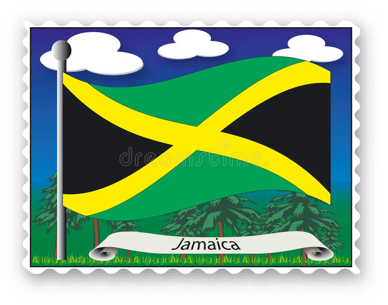 Stamp Jamaica. Stamp with flag from Jamaica- Vector stock illustration