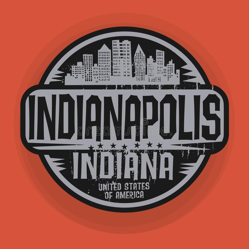 Stamp or label with name of Indianapolis, Indiana royalty free illustration