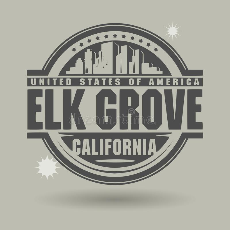 Stamp or label with text Elk Grove, California inside. Vector illustration royalty free illustration