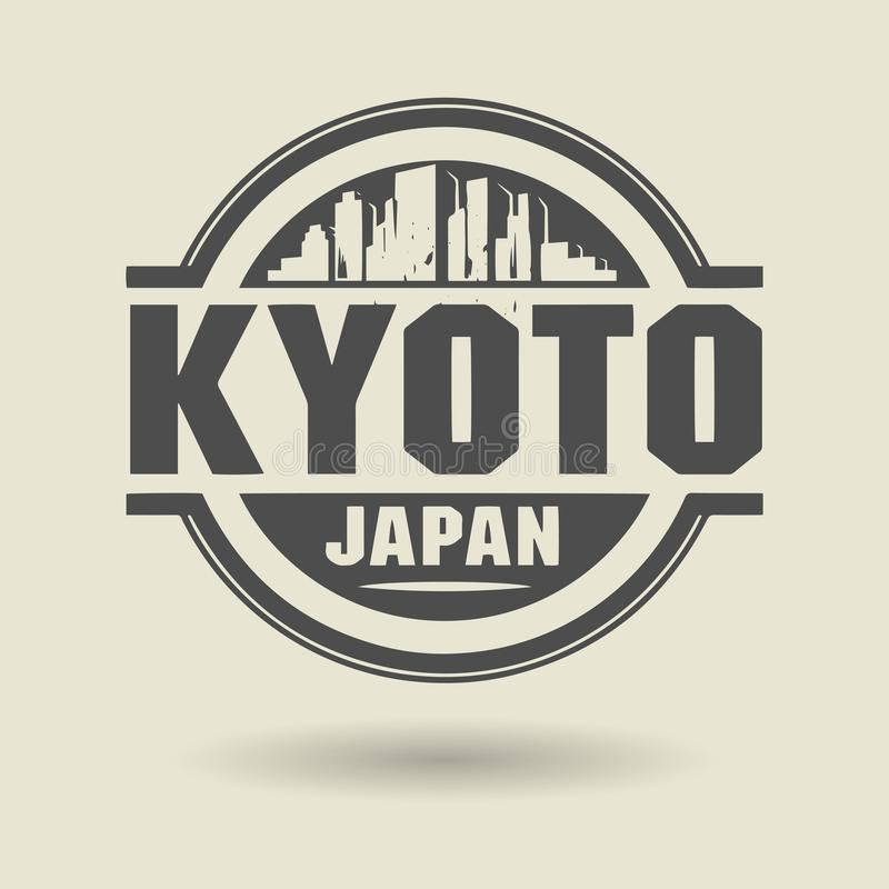 Stamp or label with text Kyoto, Japan inside stock illustration