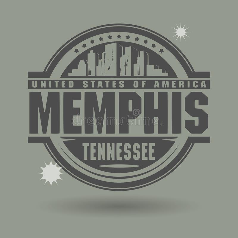 Stamp or label with text Memphis, Tennessee inside royalty free illustration