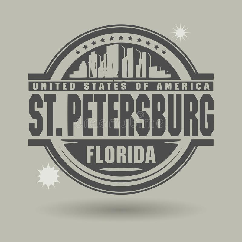 Stamp or label with text St. Petersburg, Florida inside royalty free illustration