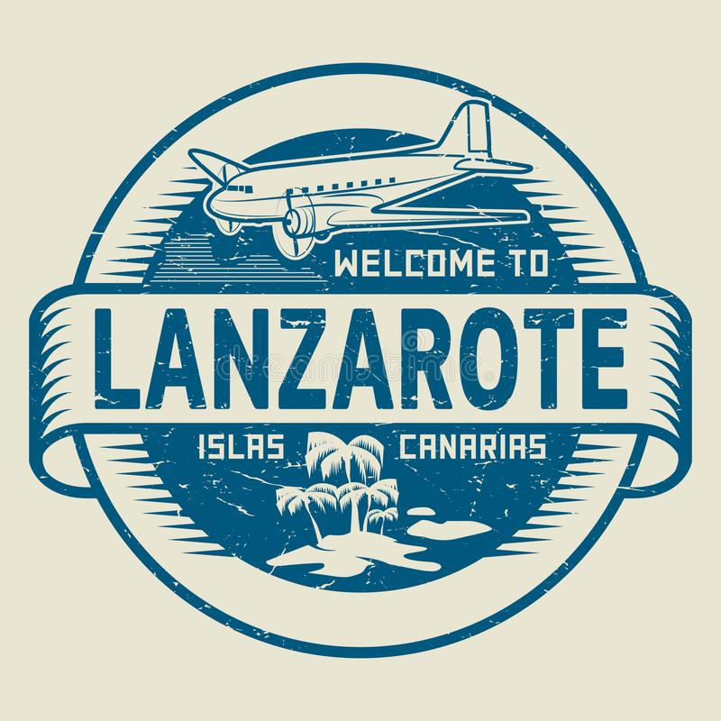 Stamp with the text Welcome to Lanzarote, Canary Islands stock illustration