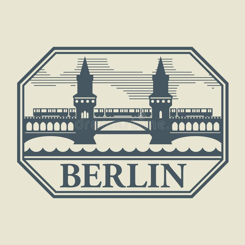 Stamp or label with word Berlin inside royalty free illustration