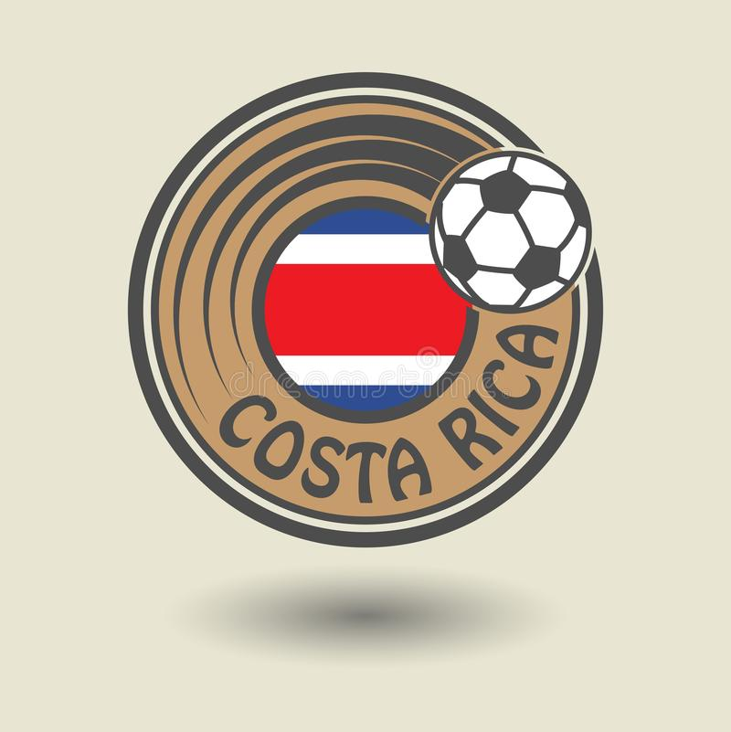 Stamp or label with word Costa Rica, football theme stock illustration