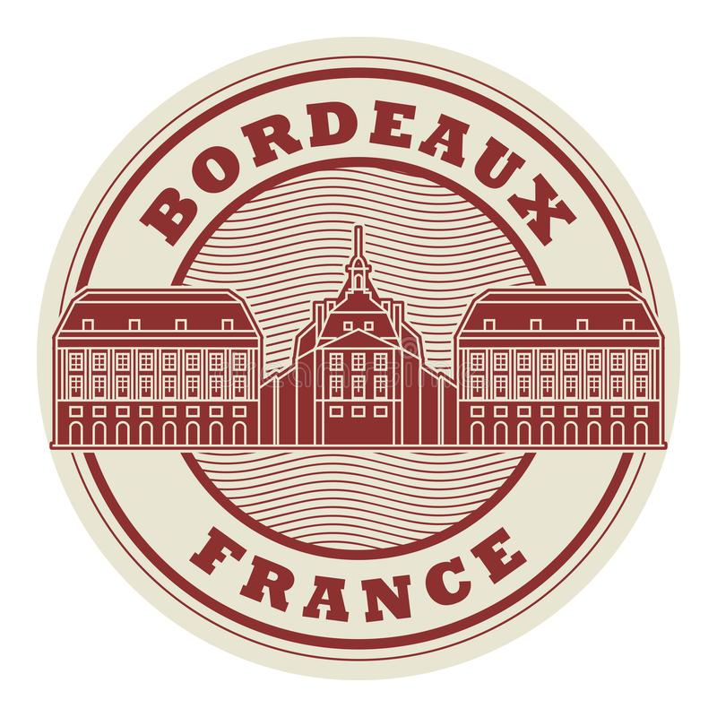 Stamp or label Bordeaux, France vector illustration