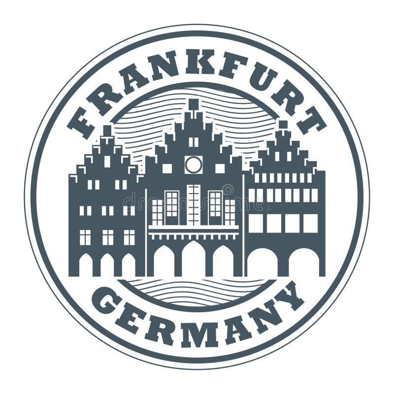 Stamp or label with words Frankfurt, Germany. Inside, vector illustration stock illustration