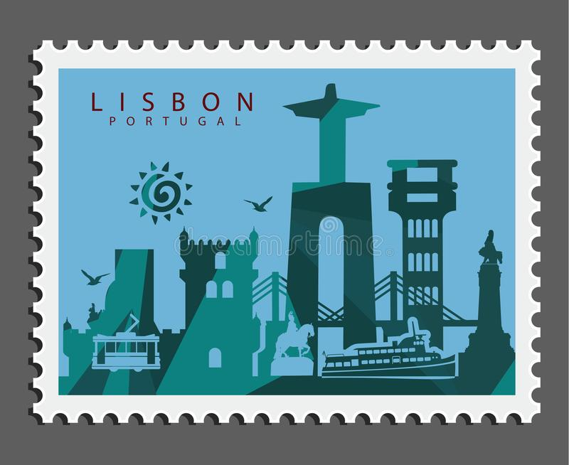 Stamp of Lisbon Portugal stock photos