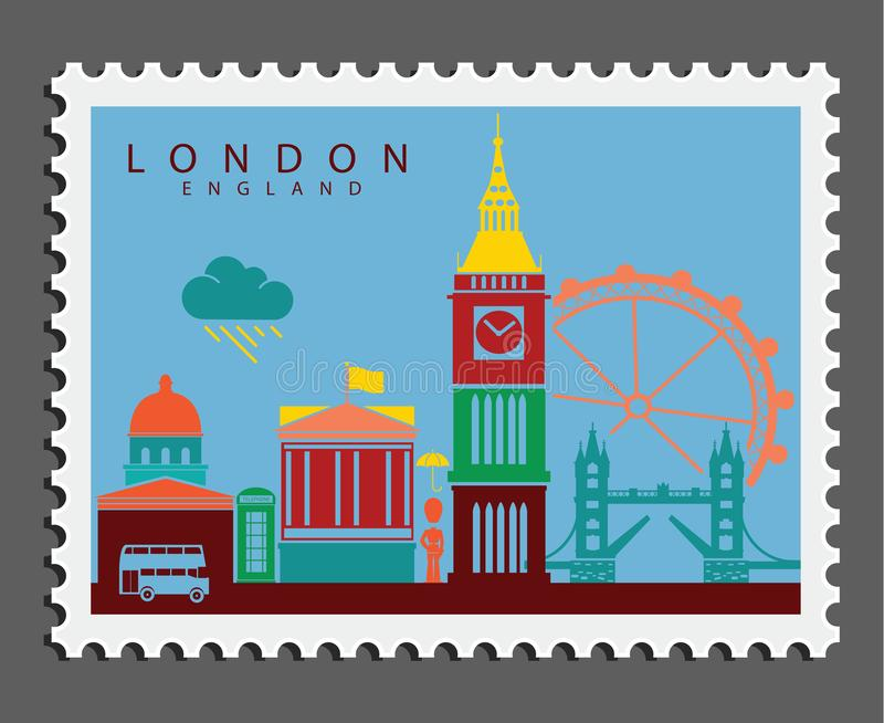 Stamp of London England stock photo