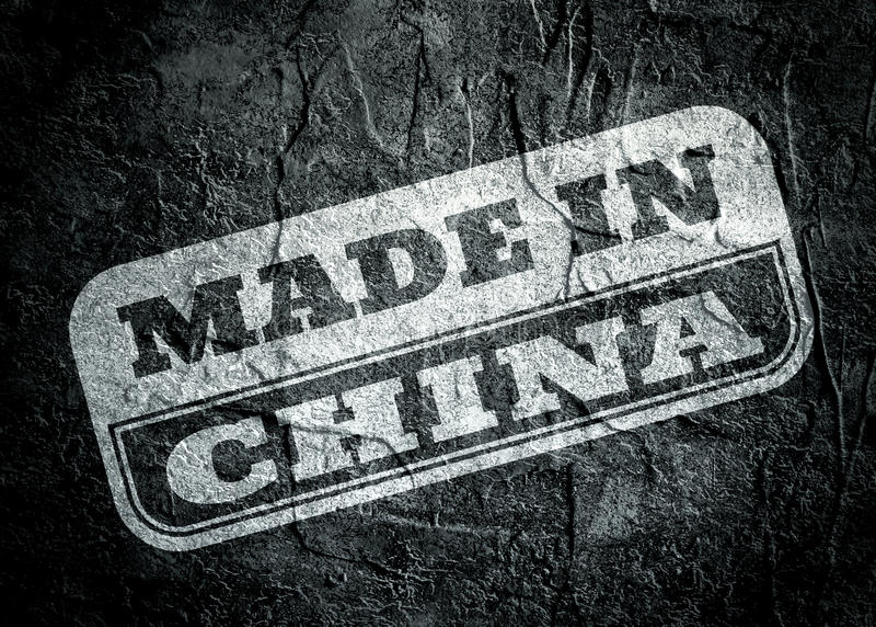 Stamp with made in China text over grunge background royalty free illustration
