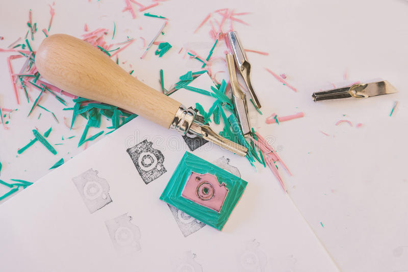 Stamp making craft stock photography