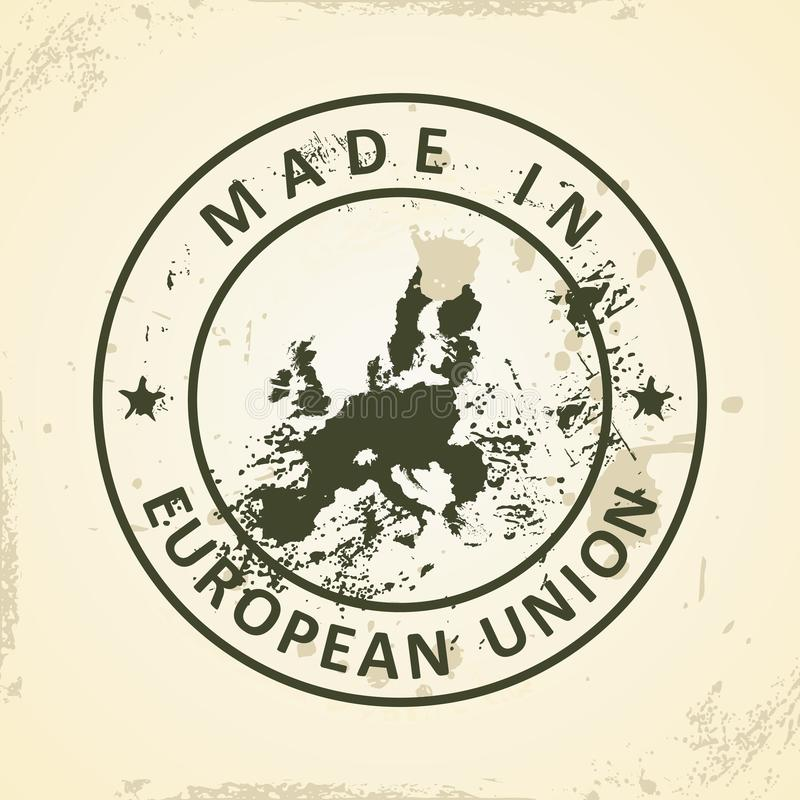 Stamp with map of European Union 2015 stock illustration
