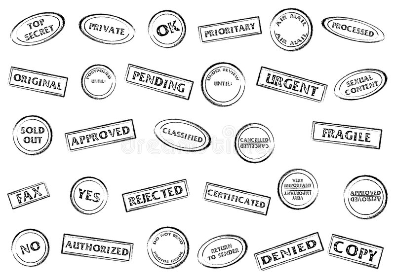 Stamp marks set. Post or office marks isolated over white background vector illustration