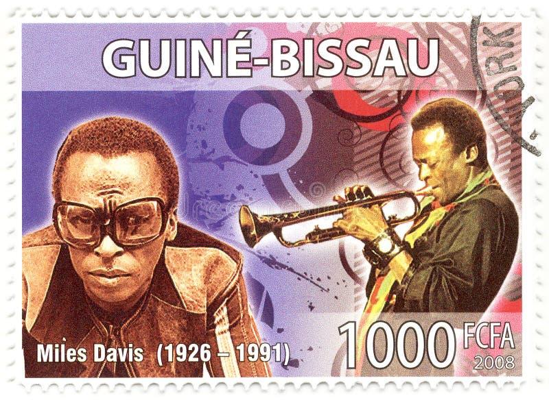 Stamp with Miles Davis stock photos