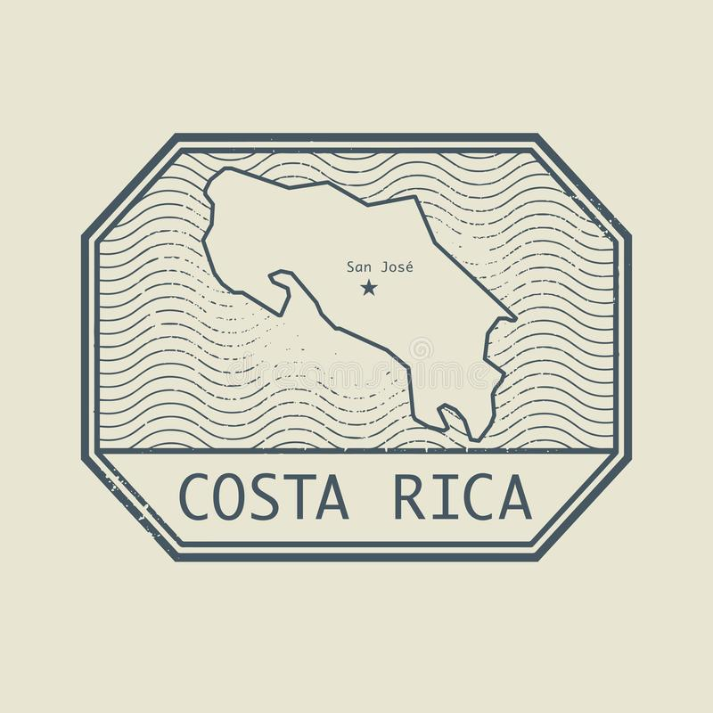 Stamp with the name and map of Costa Rica. Vector illustration royalty free illustration