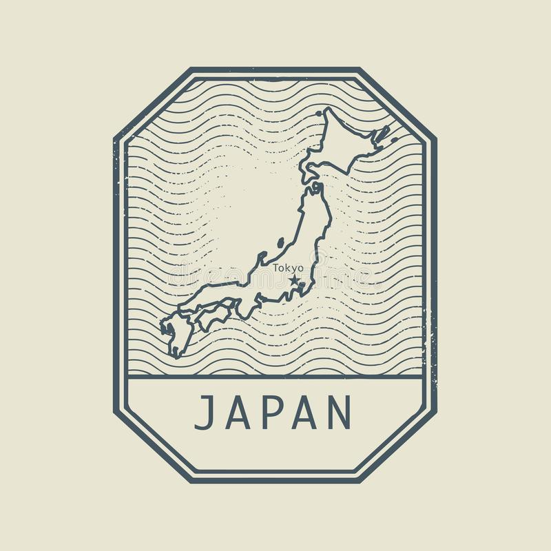 Stamp with the name and map of Japan royalty free illustration