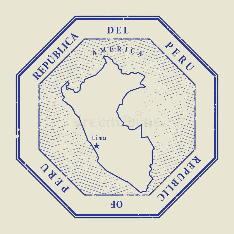 Stamp with the name and map of Peru vector illustration