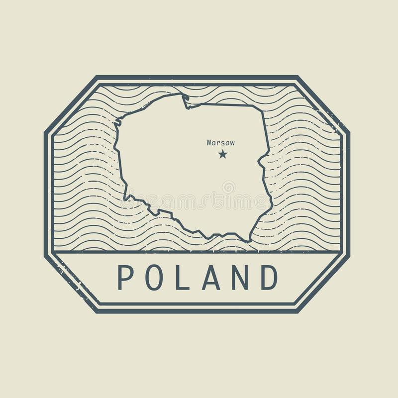Stamp with the name and map of Poland, vector stock illustration