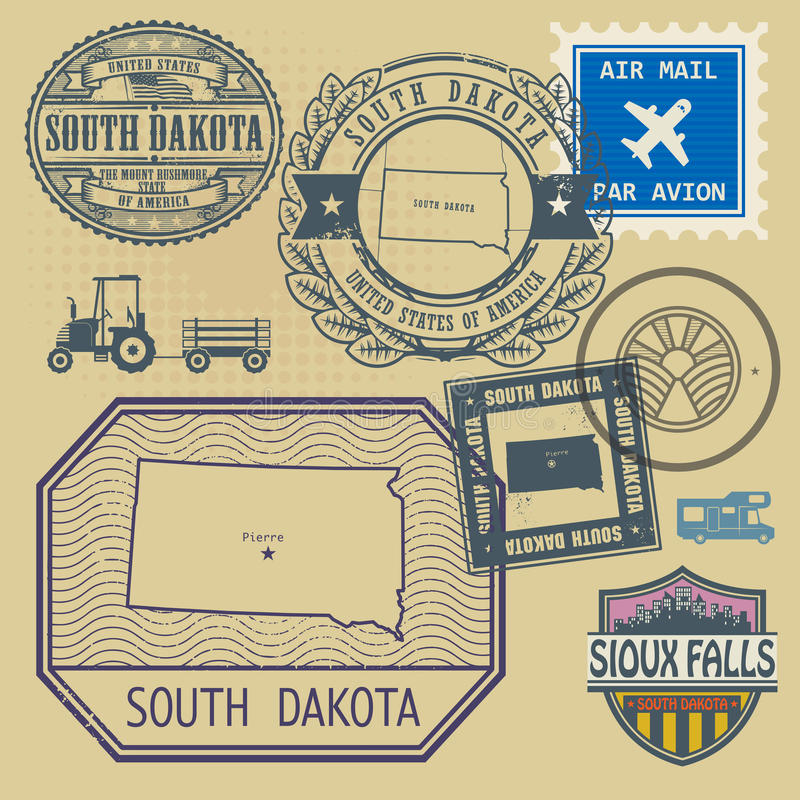 Stamp with the name and map of South Dakota. United States, vector illustration stock illustration