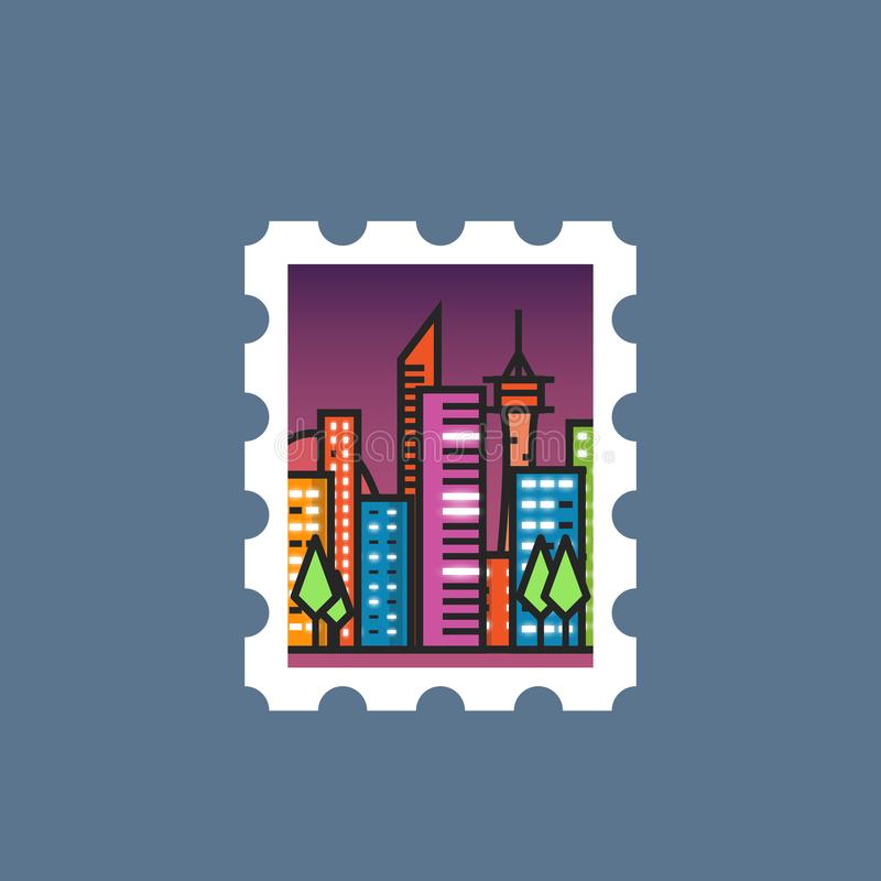 Stamp with night city. Postal stamp line illustration. Big night city with skyscrapers and glowing windows. Gradient vector. City center, park and trees royalty free illustration