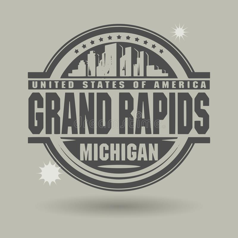 Free Stamp Or Label With Text Grand Rapids, Michigan Inside Royalty Free Stock Photography - 123283767
