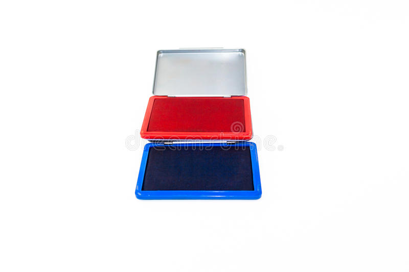 Stamp pad ink isolate. Red and blue stamp pad ink isolate on white background royalty free stock photos