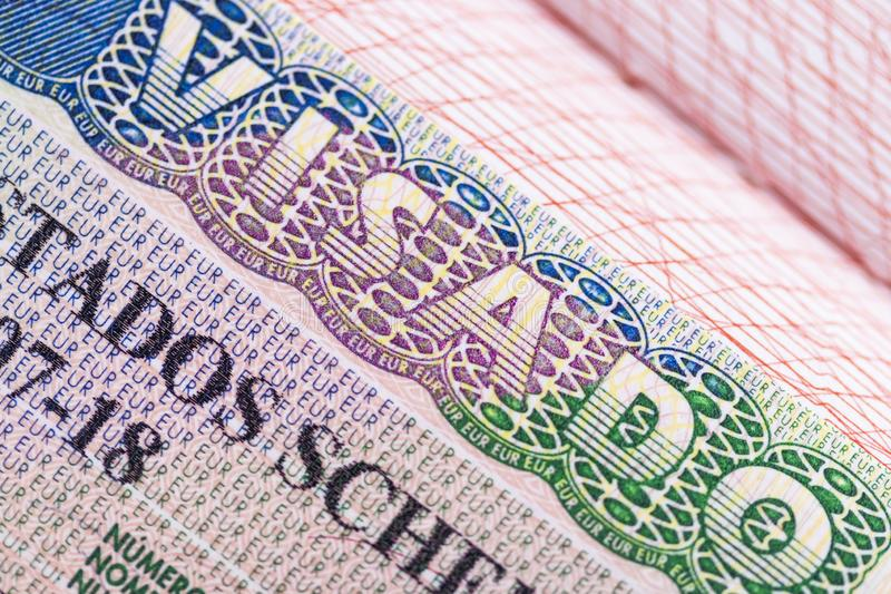 Stamp in the passport for travel and entry into Spain stock photo