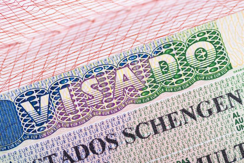 Stamp in the passport for travel and entry into Spain royalty free stock photos