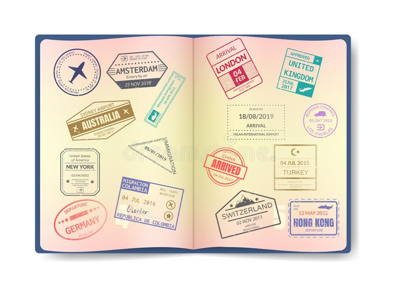 Stamp in passport for traveling an open passport. International arrival visa stamps vector set. International travel document with watermarks, document with royalty free illustration