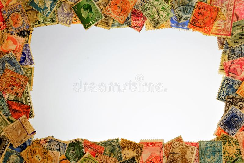 Stamp philately vintage, frame background. Philately collecting and studying postage stamps, history and development of postal royalty free stock image