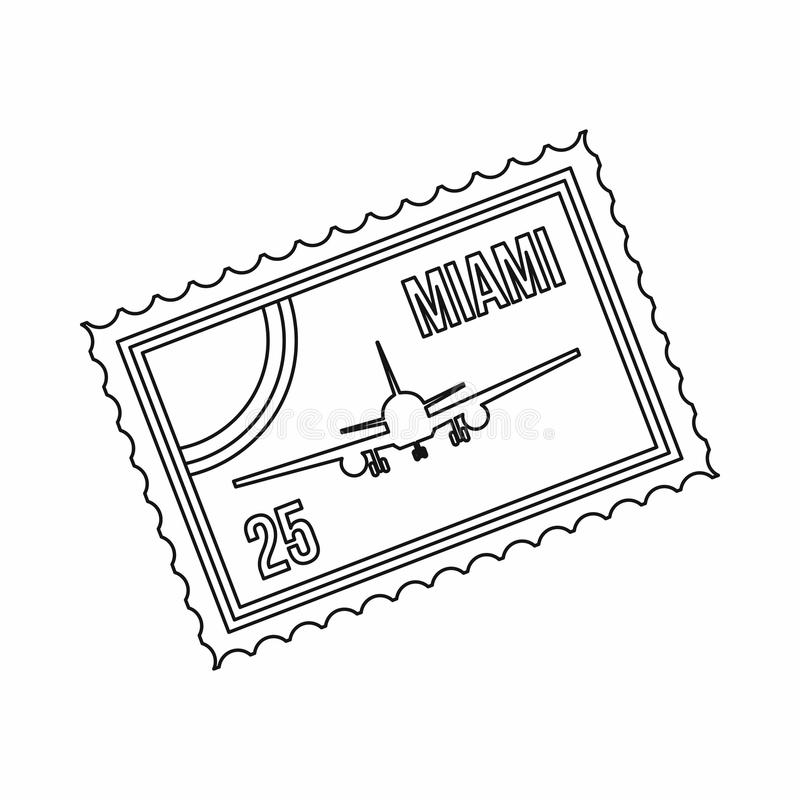 Stamp with plane and text Miami inside icon. In outline style isolated on white background royalty free illustration