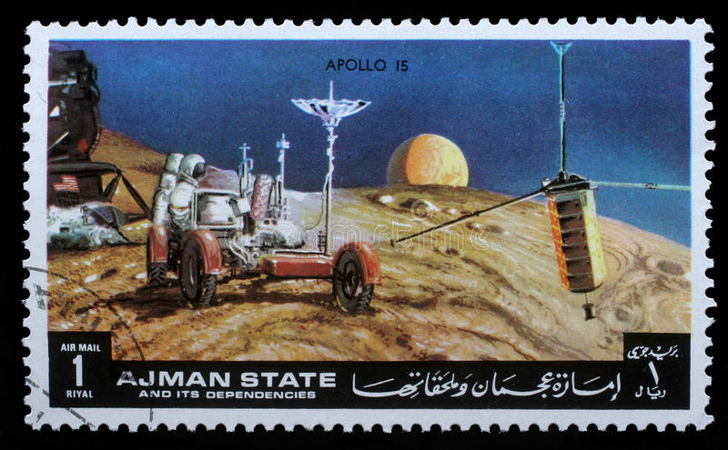 Stamp printed by Ajman shows Apollo 15 - TV Broadcasting royalty free stock image