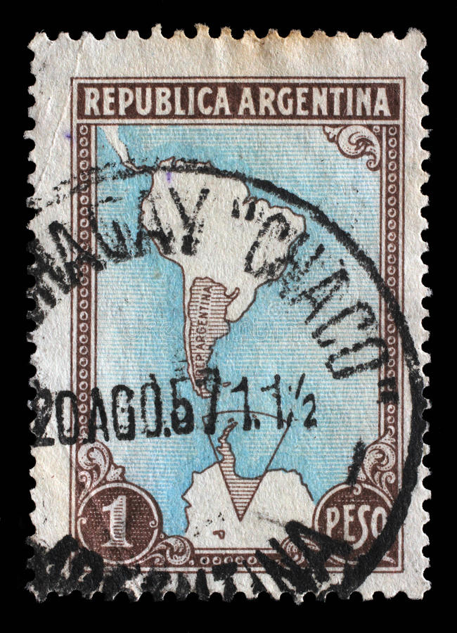 Stamp printed in Argentina shows map of Argentina and Antarctic territories. A stamp printed in Argentina shows map of Argentina and Antarctic territories, circa stock image