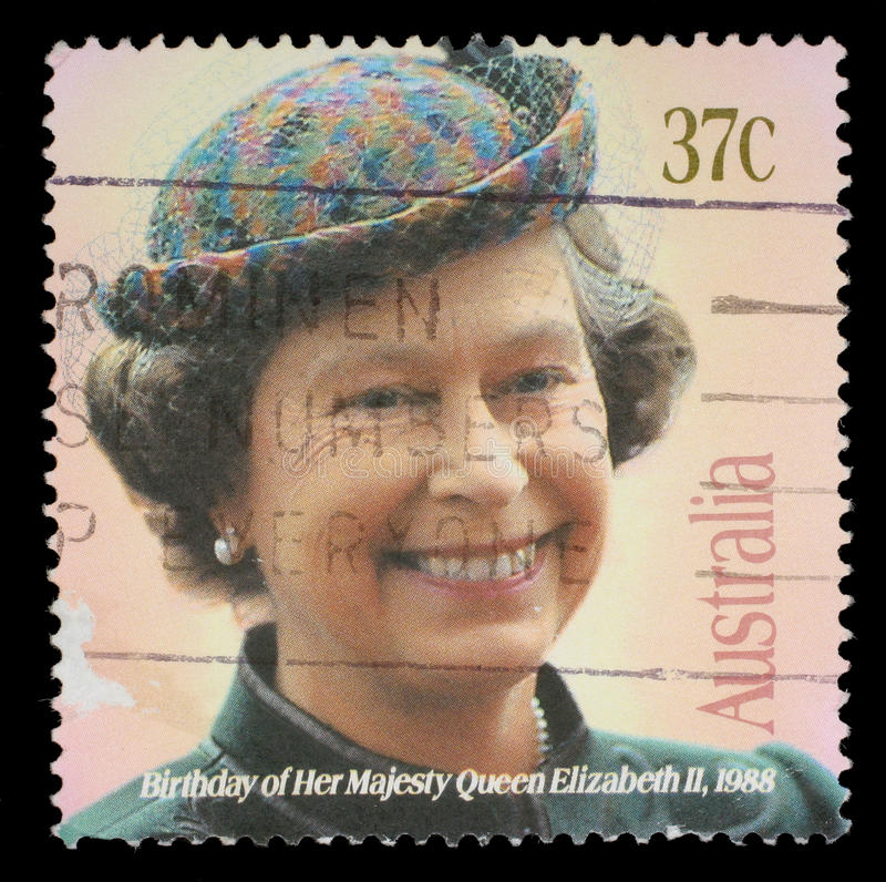 Stamp printed in Australia showing queen Elisabeth II. Circa 1988 royalty free stock images