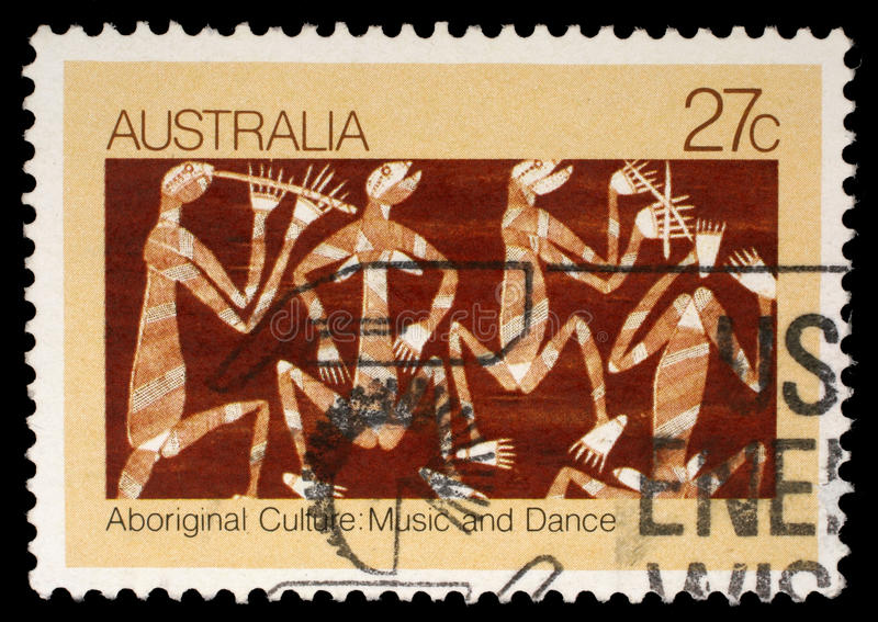 Stamp printed in Australia shows Aboriginal culture, music and dance stock photos