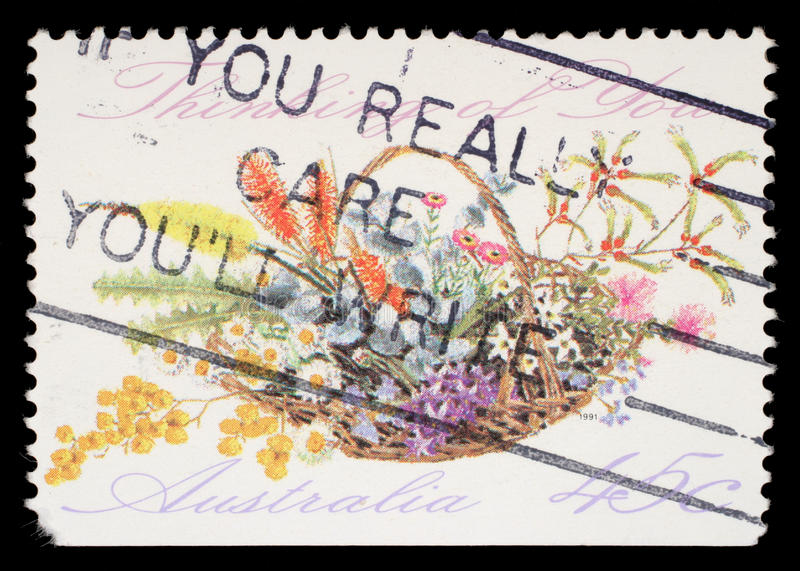 Stamp printed in Australia shows the Bunch of flowers with the description `Thinking of You`, Special Occasions royalty free stock image