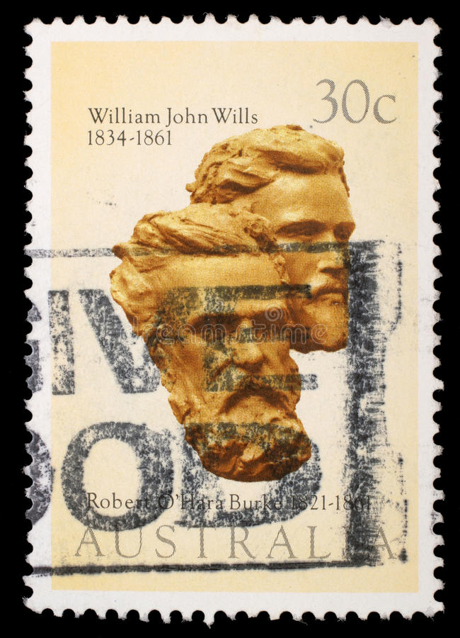Stamp printed in Australia shows Burke and Wills. A stamp printed in Australia shows Burke and Wills, circa 1983 royalty free stock photography