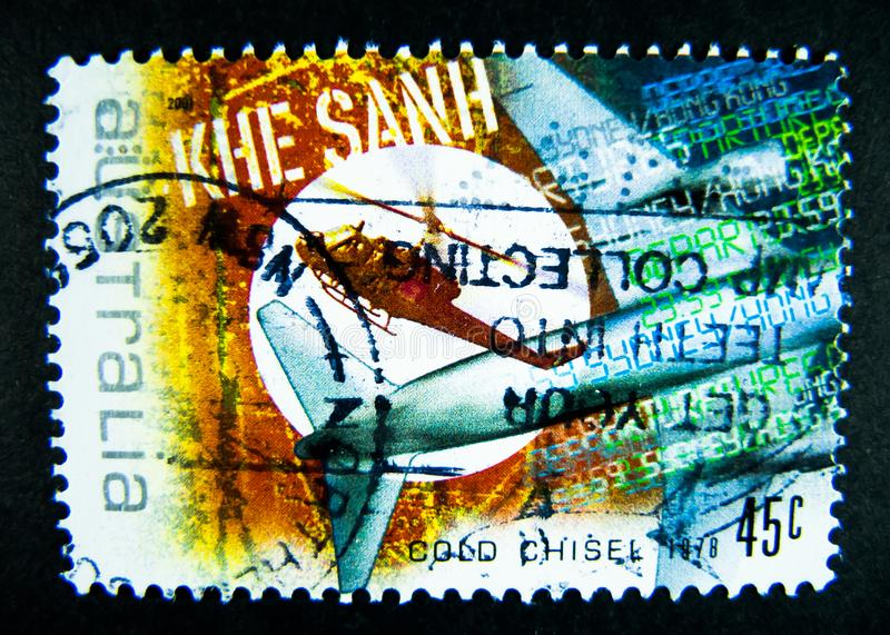 A stamp printed in Australia shows an image of Khe Sanh Combat Base was a United States Marine Corps outpost south of the Vietnam. BANGKOK, THAILAND. – On royalty free stock image
