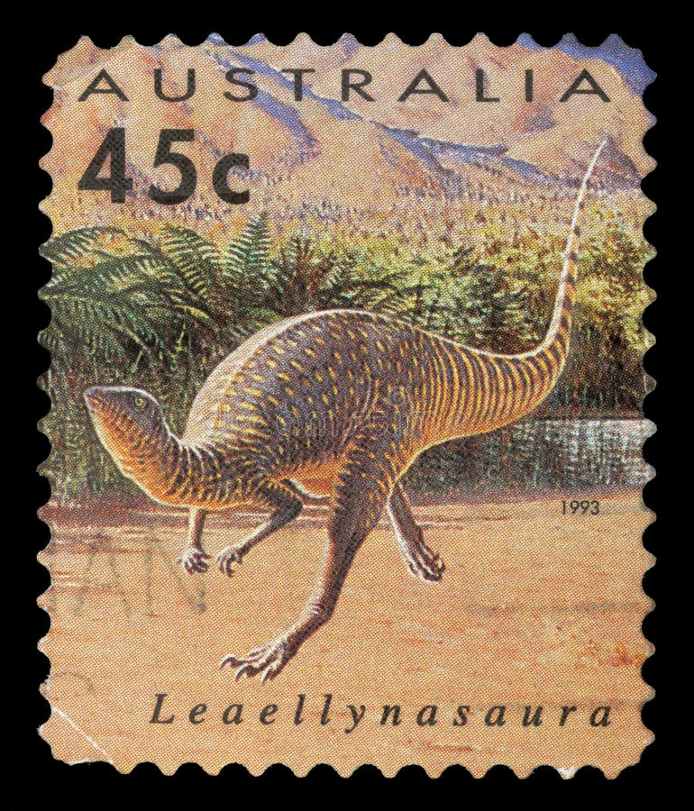 Stamp printed in Australia shows Leaellynasaura. A stamp printed in Australia shows Leaellynasaura, circa 1993 stock photos