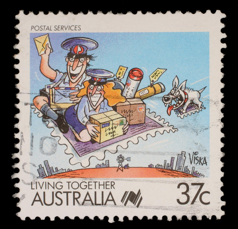 Stamp printed in Australia shows Living Together, celebrating postal service royalty free stock photos