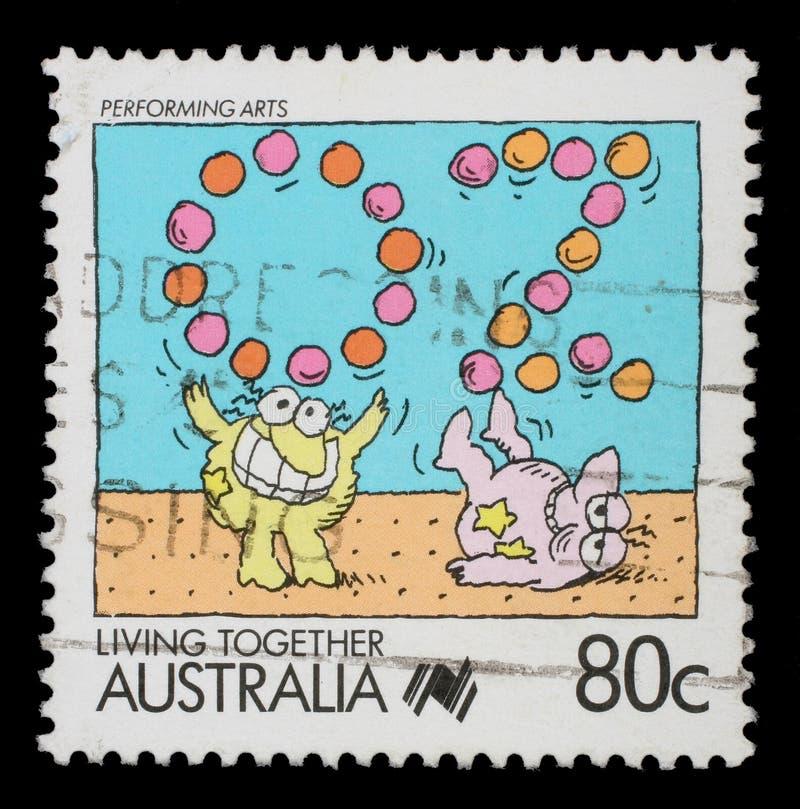 Stamp printed in Australia shows Performing arts jugglers. Circa 1988 stock photos