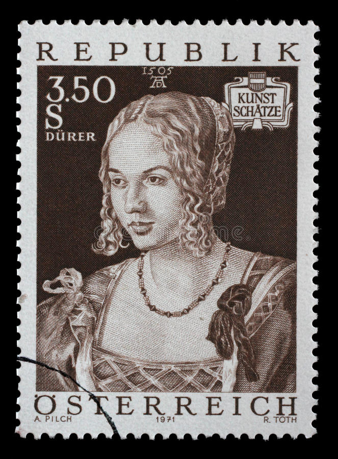 Stamp printed by Austria, shows Art Treasures in Austria, Venice Girl by Albrecht Durer. Circa 1971 royalty free stock photo